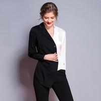 Черно белая Лоскутная шелк Длинные рукава фигурные Тонкая Блузка 2018 новые высококачественные офисные женские осенние Рубашки