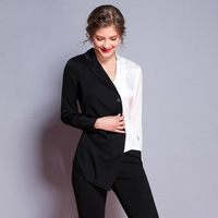 Black white patchwork silk long sleeve notched slim blouse 2018 new high quality office lady women autumn shirts