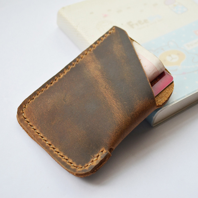 Handwork Brief Vintage Mens Handmade Wallets Genuine Leather Minimalist Cow Leather Men Mini Wallet and Purse Coin Card Cowhide