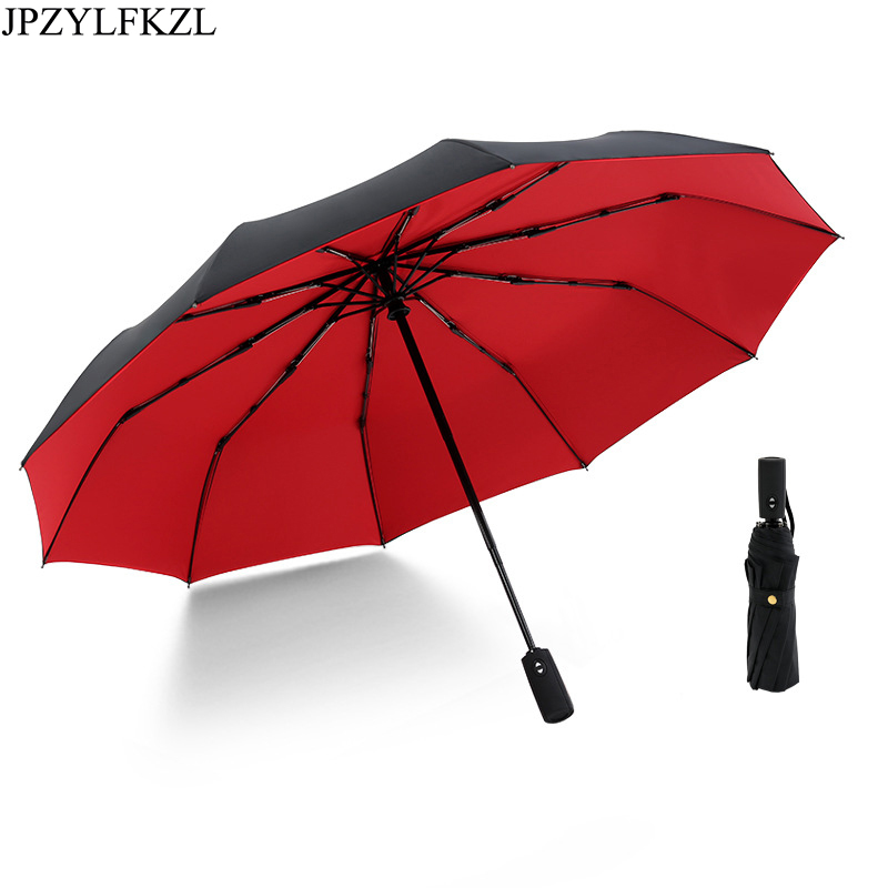JPZYLFKZL Ten Bone Automatic Folding Umbrella Female Male Car Luxury Large Windproof Umbrella Umbrella Men Rain Black Paint