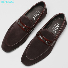 QYFCIOUFU New Design Autumn Suede Genuine Leather Formal Shoes Men Slip On Loafers Breathable Mens Dress Shoes Wedding Shoes