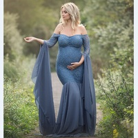 Fashion Maternity Dress for Photo Shoot Maxi Maternity Gown Long Sleeves Lace Stitching Fancy Women Maternity Photography Props