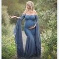 Mode Moederschap Jurk voor Fotoshoot Maxi Moederschap Gown Lange Mouwen Kant Stiksels Fancy Vrouwen Moederschap Fotografie Props