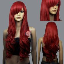 hot deal buy  100% brand new high quality fashion picture full lace wigs>>fine hot dark red curly wavy long cosplay wig wigs for women