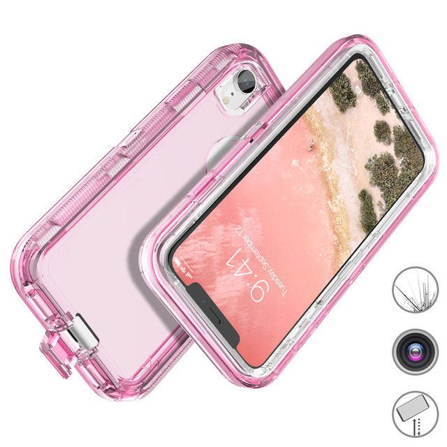 Yokata Hard Case For iPhone 7 6 6s Plus X Xs Max 360 Case Clear PC Bumper Cute Bling Cases For iPhone XR 8 plus Silicone Cover