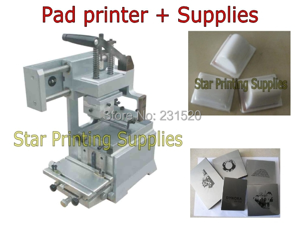 Pad printing machine start up kits: Pad printer + rubber pads + 2 custom plate dies
