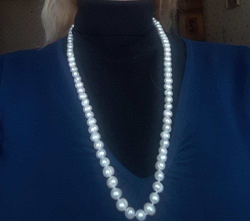 Женское длинное ожерелье из натурального пресноводного жемчуга