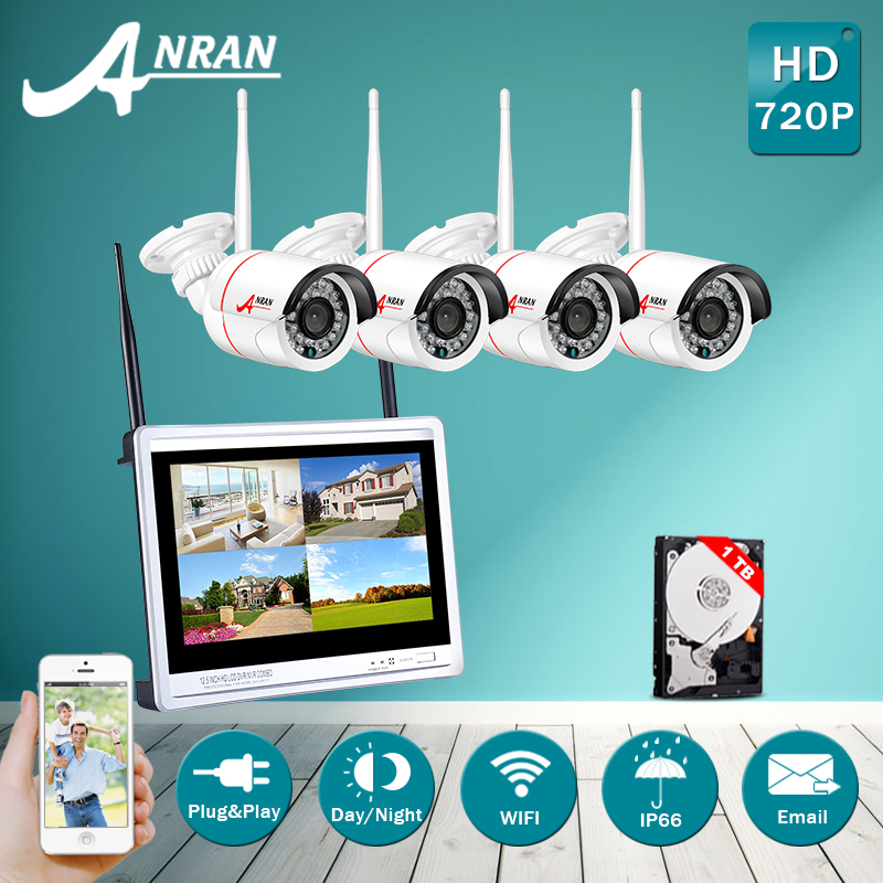 Plug And Play 4CH Wireless NVR Security Kit 12Inch Screen 1TB HDD P2P 1.0MP HD Night Vision IR WIFI Camera Surveilance System