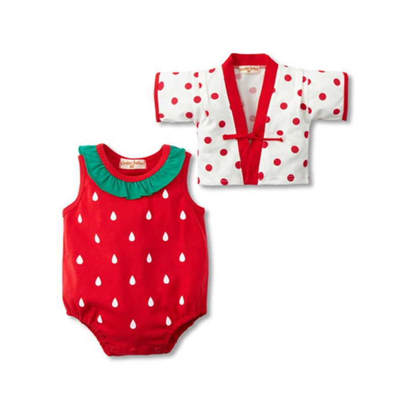 2pcs set Summer Kimono Baby Clothes Fruit Strawberry Watermelon Baby Romper Suit Infant Clothing Sets Baby