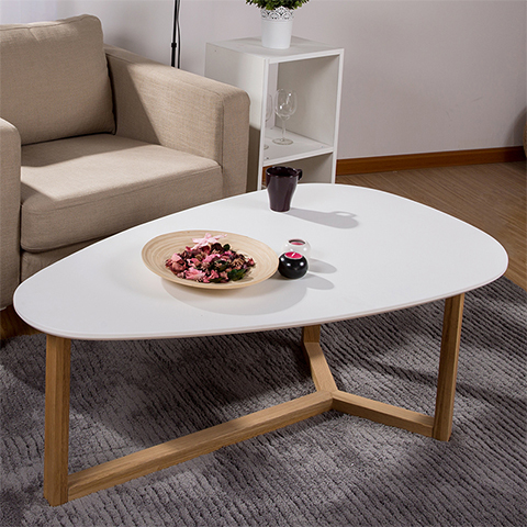 Yidai Home White Oak Coffee Table Oval Coffee Table Creative Minimalist  Wood Furniture Small Apartment Sofa End Table Table In Coffee Tables From  Furniture ...