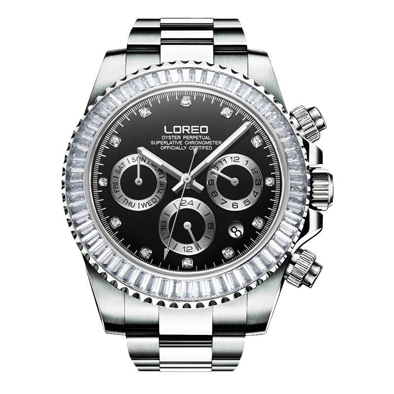 LOREO allemagne montres hommes automatique auto-vent autrichien diamant huître perpétuel cosmographe daytona relogio masculino 116505
