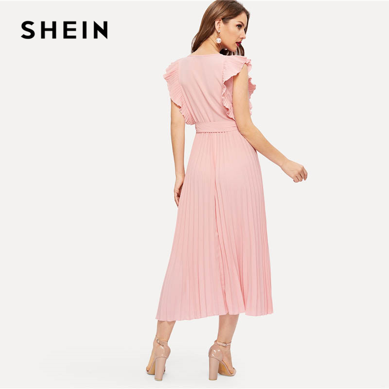 1b745db776 SHEIN Pink Retro Pleated Panel Ruffle Armhole Wrap Belted Sleeveless Dress  Women Summer Fit and Flare Solid Maxi Party Dresses-in Dresses from Women s  ...
