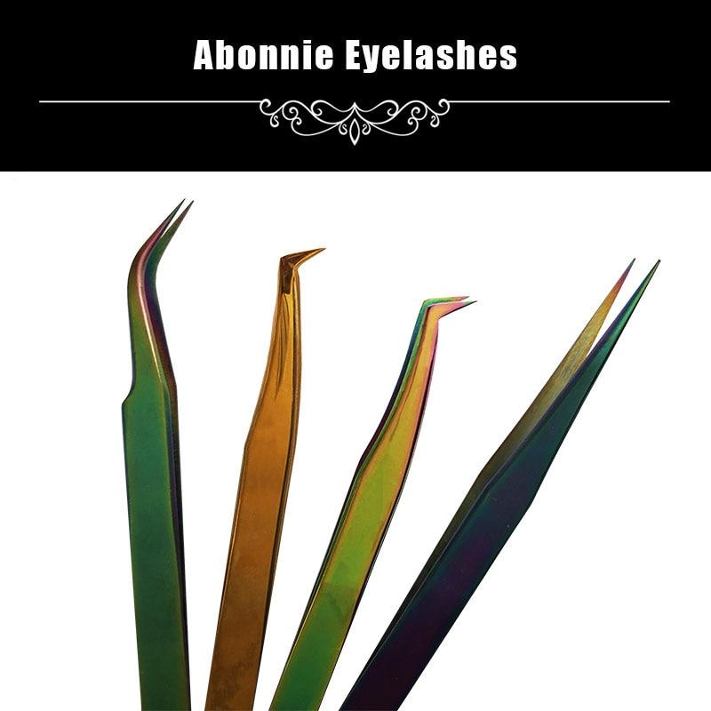 ABONNIE New MCS Series Premium Beauty Makeup Tweezers Mink Eyelashes Extension Top Quality Ultra Fine Tip Tweezers