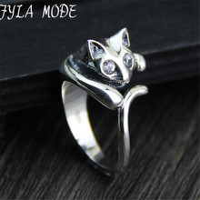 South Korea S925 Sterling Silver Ring Finger Ring Opening Cute Cat All-Match Sterling Silver Ring Female Fashion Accessories