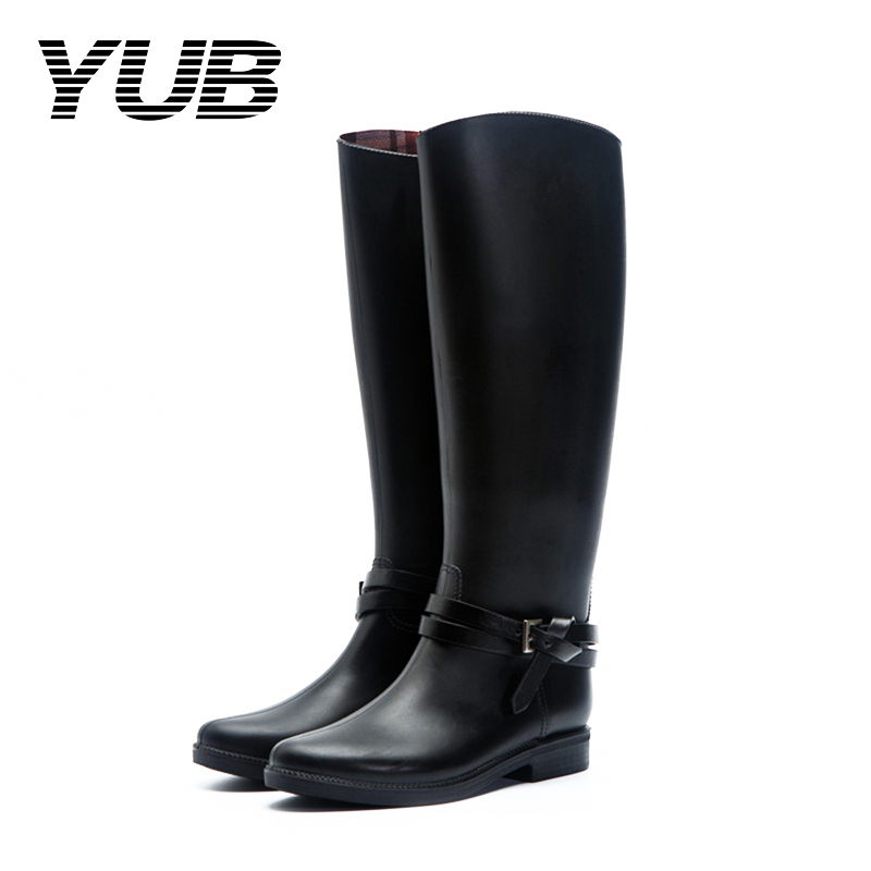 YUB Brand Women's Rain Boots Knee-High Winter Boots for Women with Waterproof PVC Rubber Shoes Size 6.5-8.5 yub brand waterproof rain boots for women with solid color slip on winter mid calf shoes for girls
