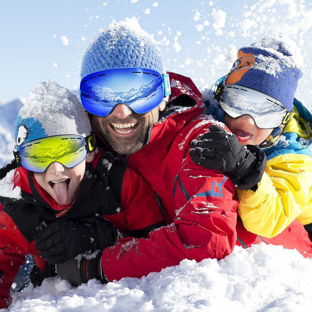 COPOZZ Parent Enfant Ski Lunettes 2 pack Ensemble Snowboard Anti brouillard Ski Lunettes UV400 pour Famliy Hommes Femmes Enfants Sport neige Lunettes - 6