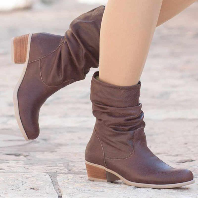 ASUMER 2019 yeni yarım çizmeler kadınlar için yuvarlak ayak kare yüksek topuklu ayakkabı sonbahar kış botları klasik bayanlar kadın botları büyük boyutu