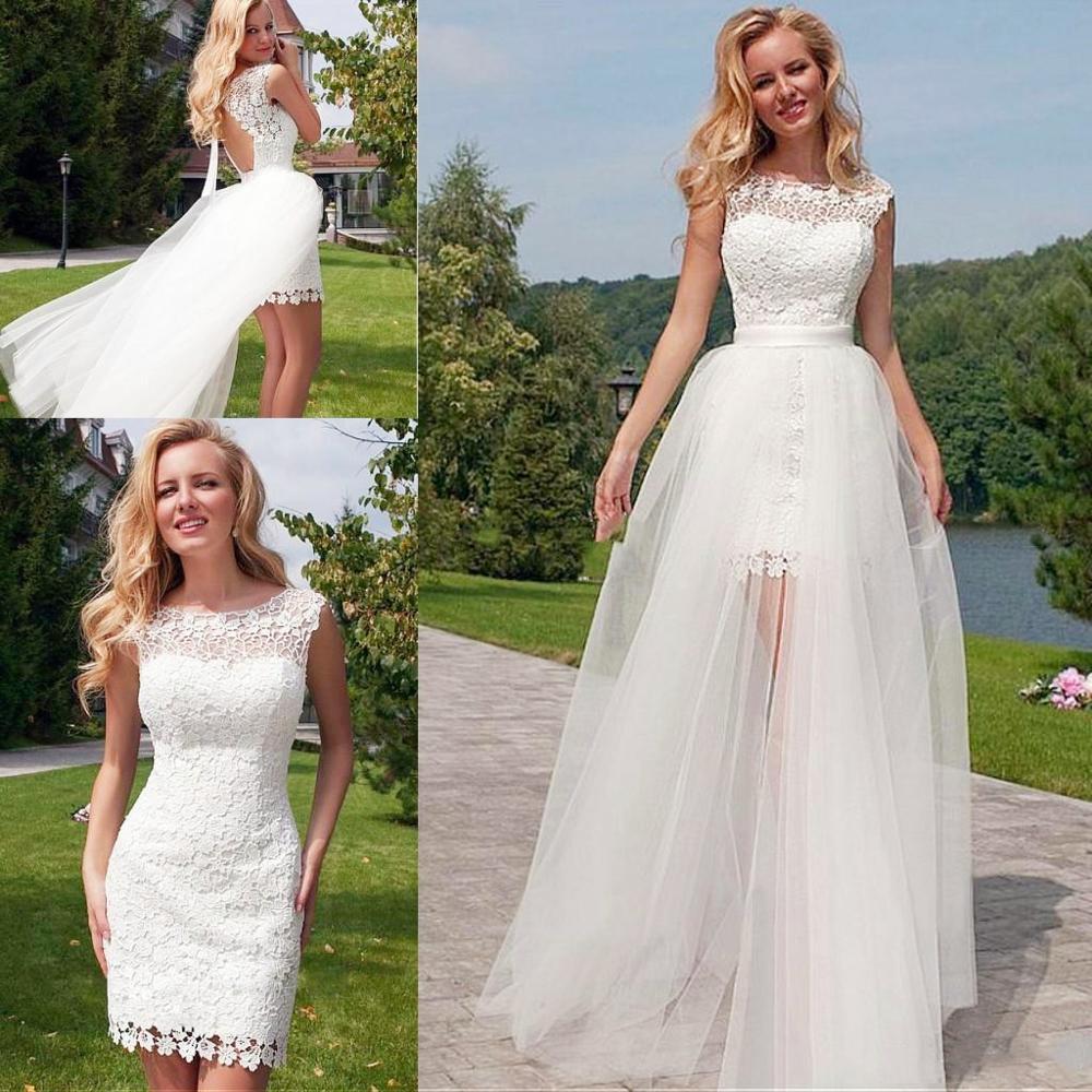 Modest White Hi Low Lace Wedding Dresses Boat Neck Floor