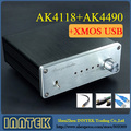 Finished AK4490 + AK4118 + XMOS USB DAC decoder Support Coaxial Optical USB 192K 24BIT output , Free shipping