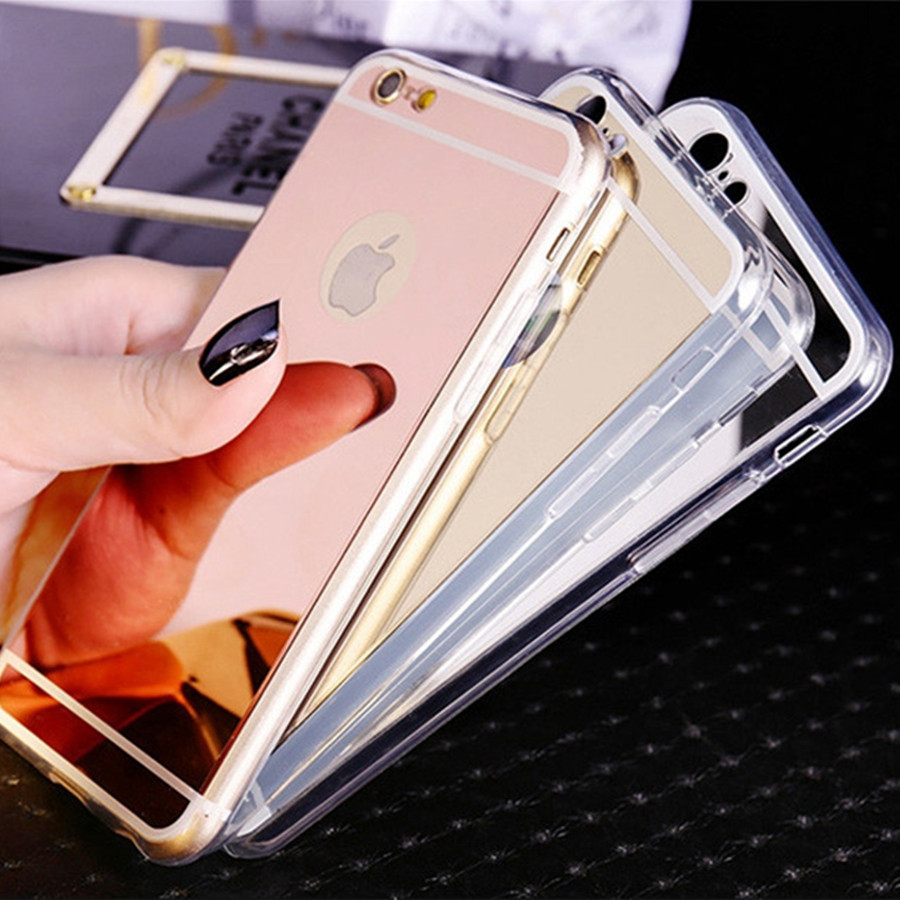 Ultra Slim Soft Iphone 5S Clear Silicone Edge Mirror Back Cover For Iphone 5 5S SE 6 6S 7 Plus 4 4S Phone Cases
