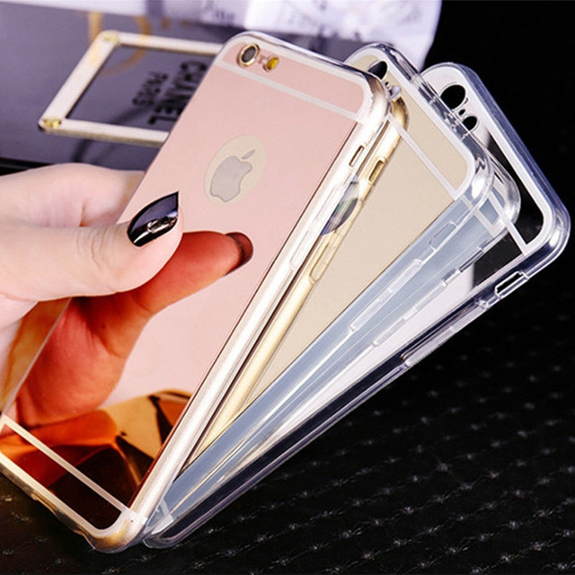 Fashion Ultra Slim Soft Case For Iphone 5S Clear Silicone Edge Mirror Back Cover For Iphone 5 5S SE 6 6S 7 Plus 4 4S Phone Cases