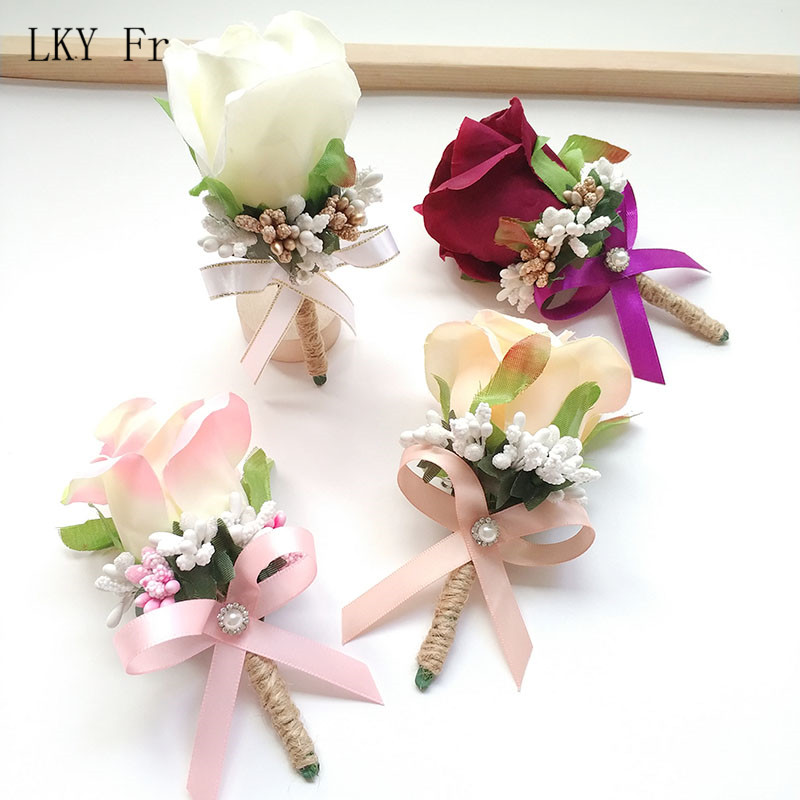 LKY Fr Boutonniere Corsage Pin Flowers Wedding Groom Boutonniere Buttonhole Bridesmaid Flowers Bracelet Wedding Witness Corsages