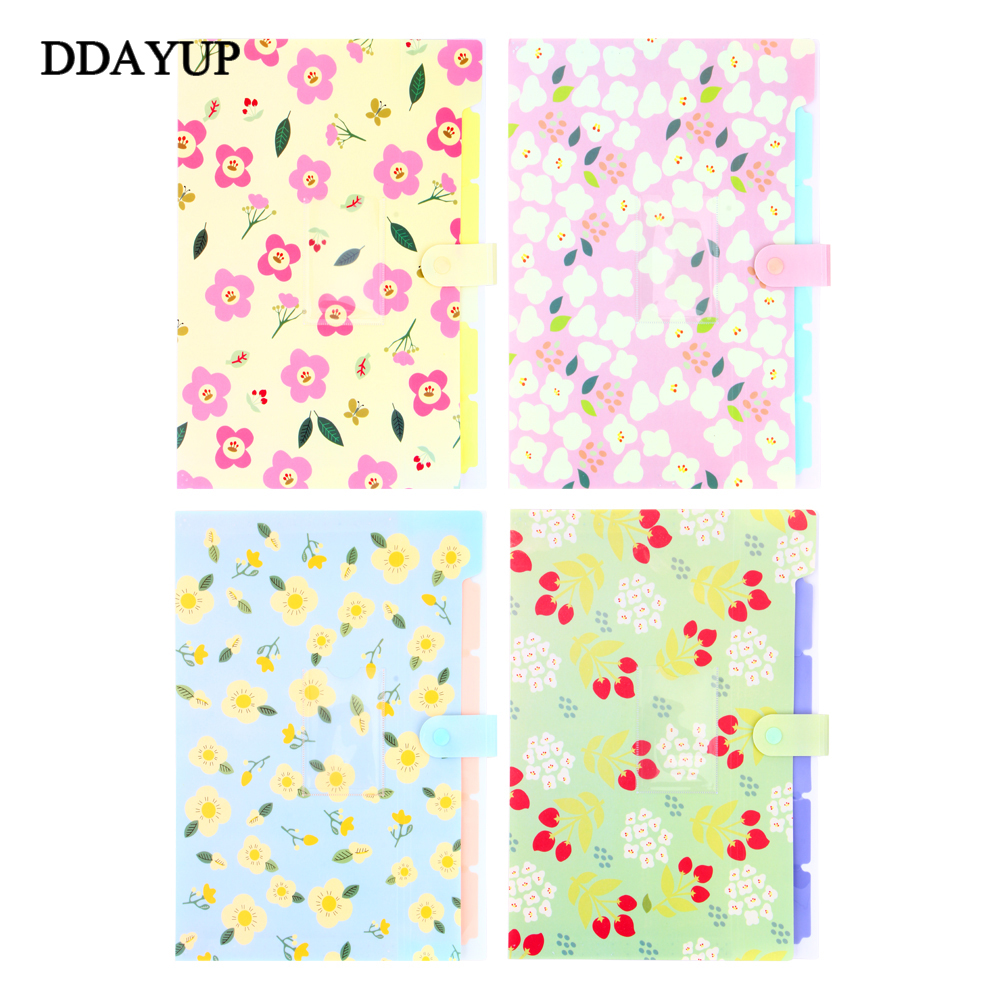Small Fresh Floral Printed Document File Folder Clipboard Folder for Documents Office Supplies School Stationery a5 20 page 30 page 40 page 60 page file folder document folder for files sorting practical supplies for office and school