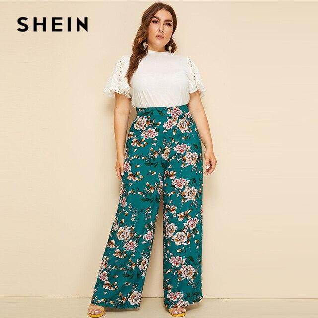 SHEIN Plus Size Green High Waist Floral Print Wide Leg Pants 2019 Women Summer Boho Casual Long Loose Plus Trousers Pants 2