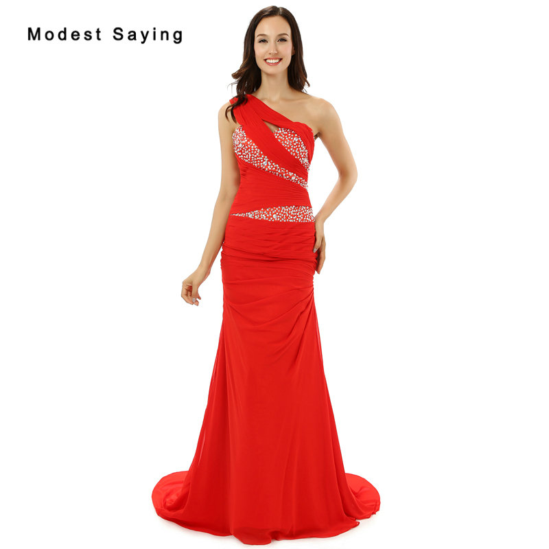 New 2017 Red One Shoulder   Evening     Dresses   with Rhinestone Formal Long Prom   Dress   Fashion Sexy Mermaid Engagement Party Prom Gown