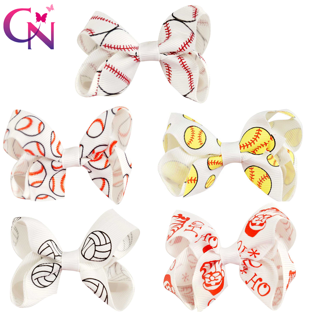 30 Pieces/lot 3 Baseball Hair Bows With Clips For Girls Kids Cute Small Softball Printed Ribbon Bows Hairpins Hair Accessories 40pcs lot 30 colors 4inch hair bows kids girls hair clips boutique bows hairpins for kids children kids girl hair accessories