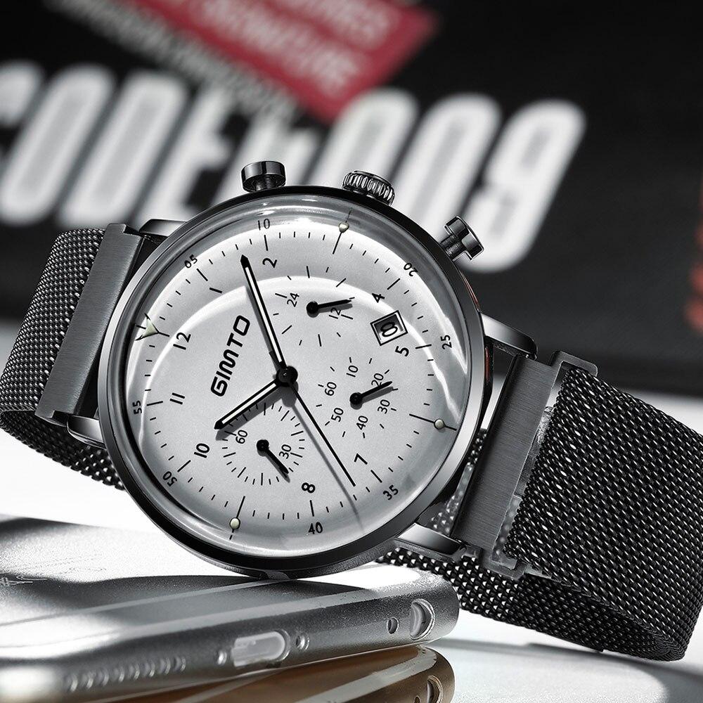 reloj hombre GIMTO Top Brand Luxury Men Watches Ultra Thin Date WristWatch Steel Waterproof Sport Watch Casual Quartz Clock
