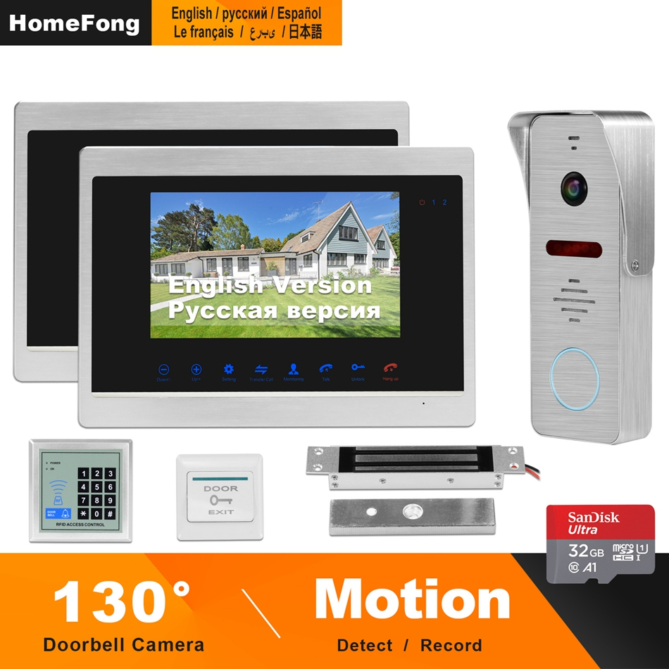 HomeFong 7 Inch Video Door Phone With 130°Angle Doorbell Camera Support Motion Detect Record For Home HD Video Intercom Doorbell