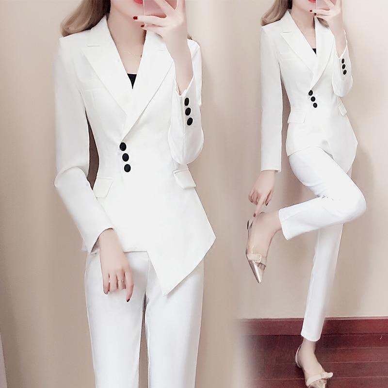 Новые официальные костюмы для женщин, повседневные офисные деловые костюмы, рабочие черно белые комплекты одежды, элегантные Брючные костю