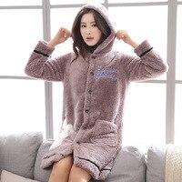 Winter flannel bathrobe hoodies cardigan button homewear bath robe for women