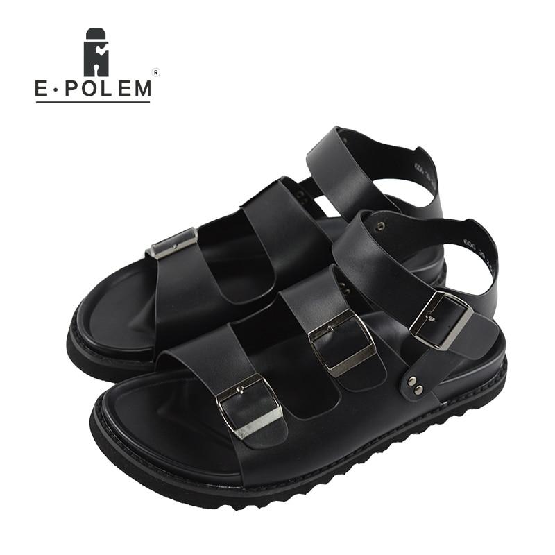 2017 Summer Tide Men Casual Black Hollow Out Rome Sandals Men Fashion Retro Breathable Rome Beach Summer Sandals Men