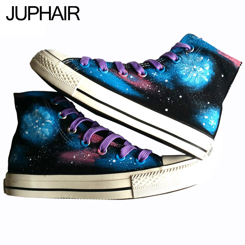 ФОТО JUP Shoes Mens Males Black Shoes Hand-painted High-top Lace Footwear Comfortable Purple Laces Mens Shoes Sales Chaussure Homme