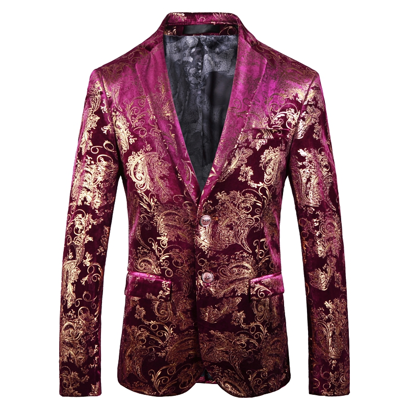 Red men Suit Jackets Gold Pattern mens suits blazers Coats High Quality mens blazer jacket Asia size S 5XL