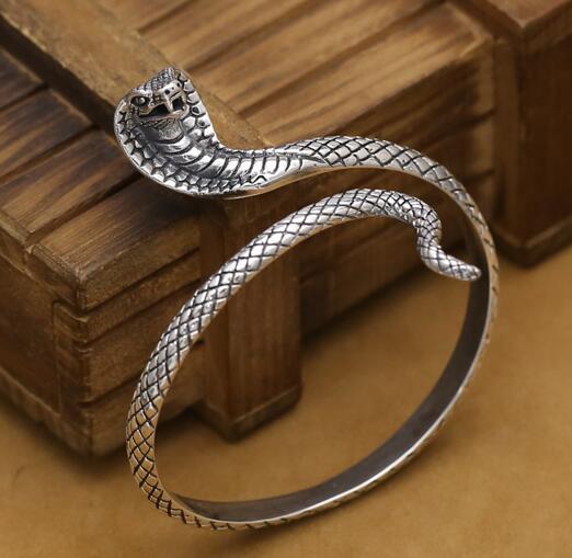 NEW! Handmade Thai Silver Snake Bangle Real 925 Silver Surpent Bangle Vintage Sterling Silver Snake Women Bangle Jewelry Gift