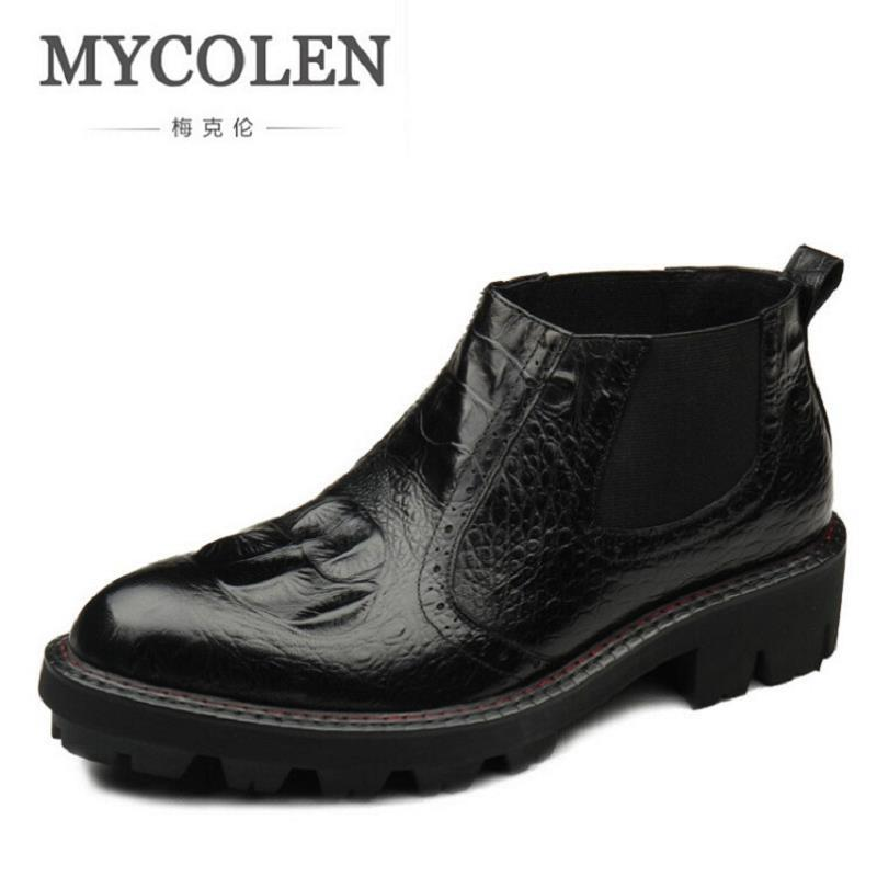 MYCOLEN Luxury Brand Men Shoes For Winter Basic Ankle Boots Genuine Leather Men's Chelsea Boots Black Botas Moto Hombre