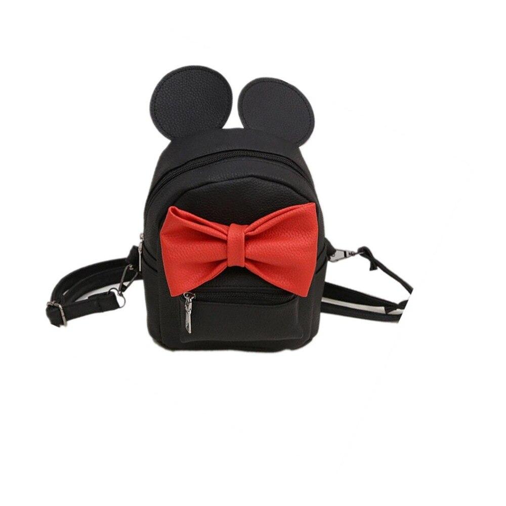 New Mini Backpack Female Bag Quality PU Leather Women Backpacks Korean Version Of Cute Ears Sweet Bowknot College Style