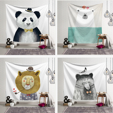 Cute Animals Print Wall Hanging Tapestry Cartoon Panda Lion Pattern Macrame Tapestry Living Room Decor Home Decoration woody door print wall decoration tapestry