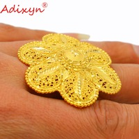 Adixyn Unique Style Big Flowers Rings Gold Color Trendy Wedding Jewelry for Women/Girls African/Ethiopian N03057