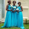 2016 Blue A-line Bridesmaid Dresses Beautiful Black Girl Wedding Party Dress Cheap Chiffon Long Guests Bridal Gown Vestido Longo
