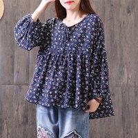 ZANZEA Spring Women Lantern Sleeve Boho Floral Print Lace Up Pleated Shirt Casual Cotton Linen Loose