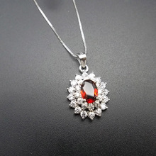 LANZYO 925 sterling silver Pendant Necklace  garnet Pendants fashion gift for women jewelry necklaces Fine Jewelry z050701ags