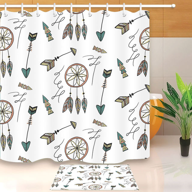 Tribal Bohemia Feather Arrow Bathroom Shower Curtain Set Waterproof Polyester Fabric Curtains Hook Home Decor