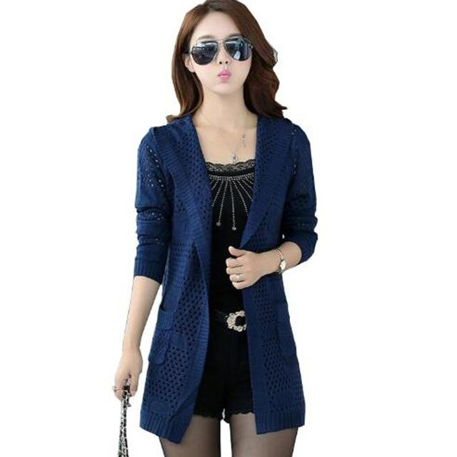 Otoño del resorte nuevas mujeres suéteres de punto chaquetas mujeres largo sólido hueco chal con capucha para mujeres de talla grande delgada kl0440