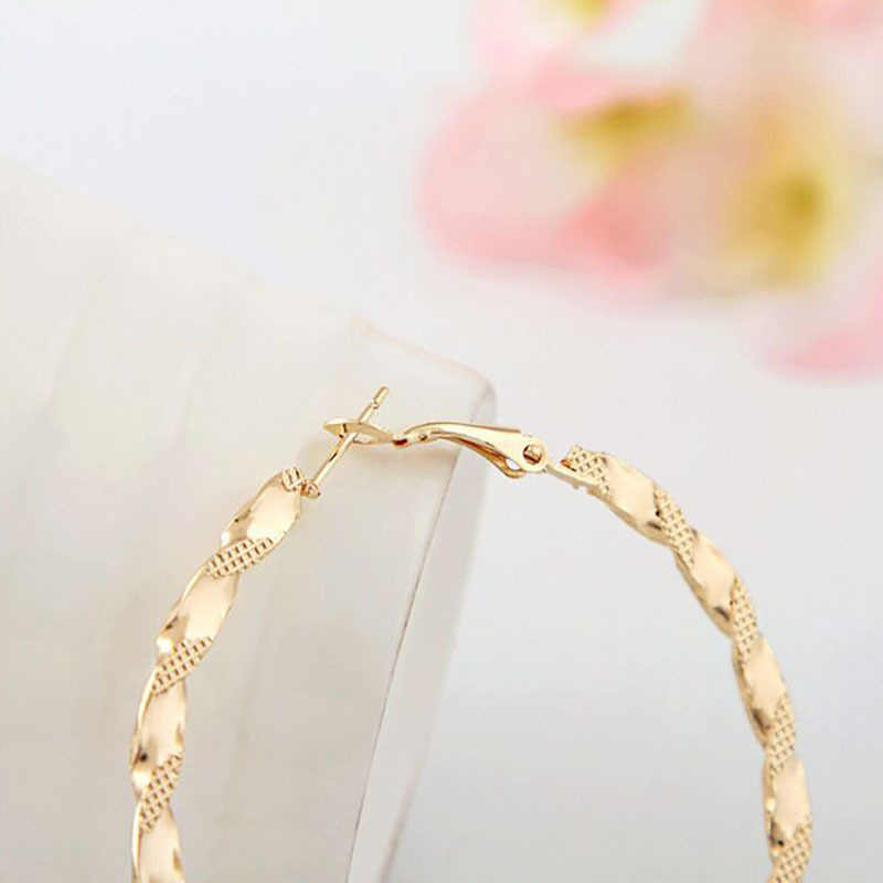 1 Pair Sell Twisted Loops Flower Hoop Earrings For Women Fashion Jewelry Double Sided Gold Silver Plated Earrings 2018