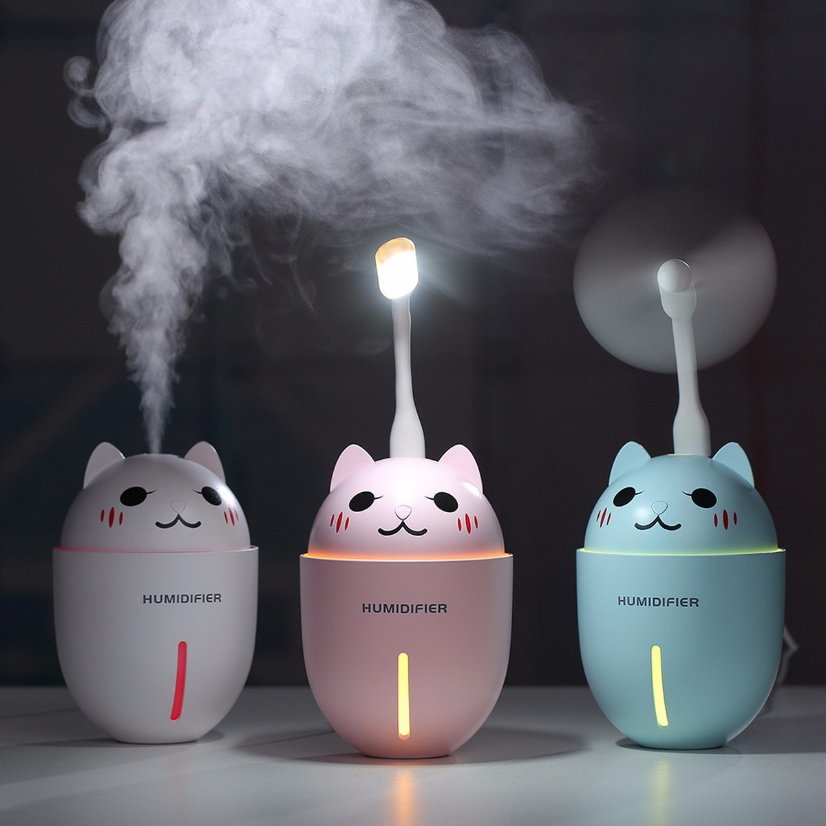 Creative Mini Cute Cartoon Air Humidifier, Multifunction USB Mute Fan LED Light Car Desktop Humidifiers