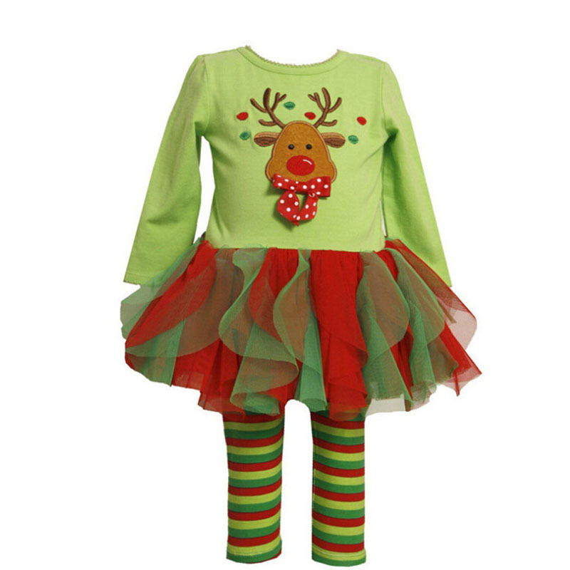 ФОТО New Year Dresses Winter Baby Girls' Toddler Tracksuit Pyjamas Set Christmas Outfit Floral Comfortable Top Blouse And Pants